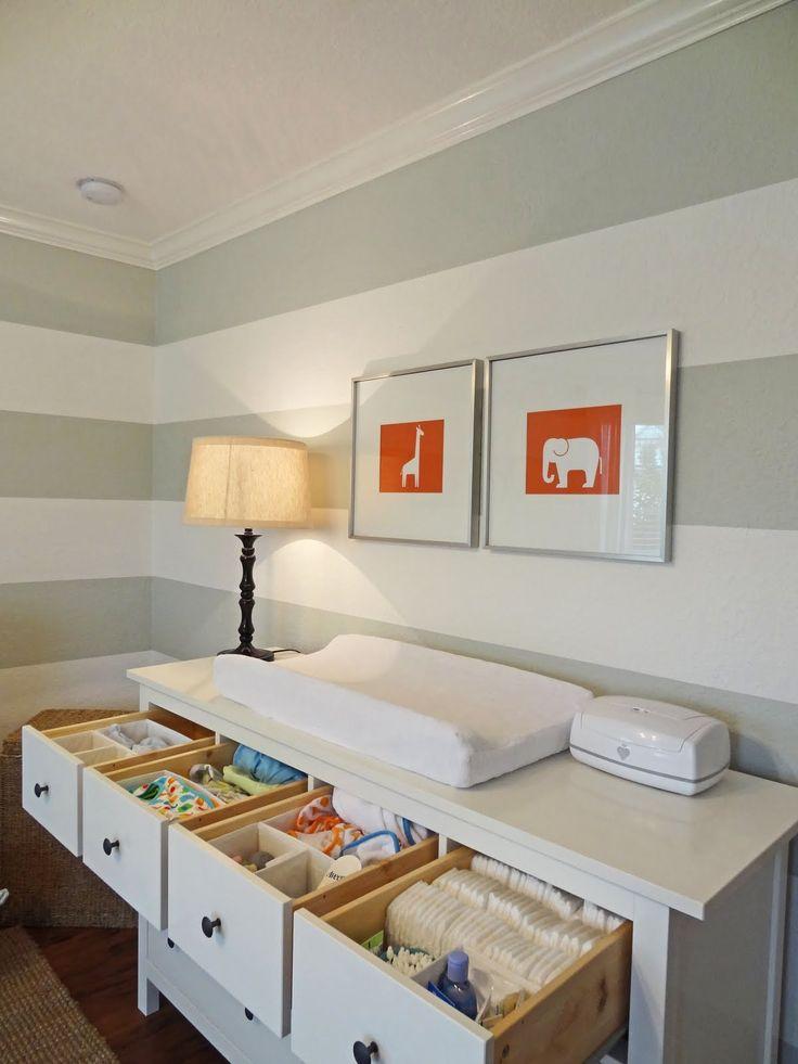 Gray striped nursery with orange accents - drawer organization