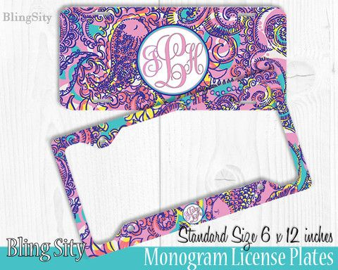 purple paisley monogram license plate frame holder metal wall sign tags personalized custom vanity plate