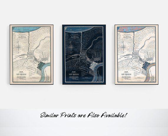 Historic New Orleans Maps New Orleans Prints Navy New Orleans