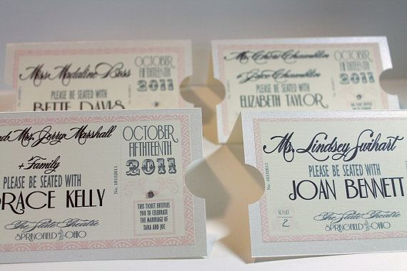 Vintage Hollywood Movie Ticket Place Cards.  Please be seated with our favorite Vintage Hollywood actors.  Use Actors photos in frames as table numbers.  www.dgdinvitations.com