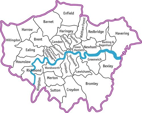 Map of all London boroughs