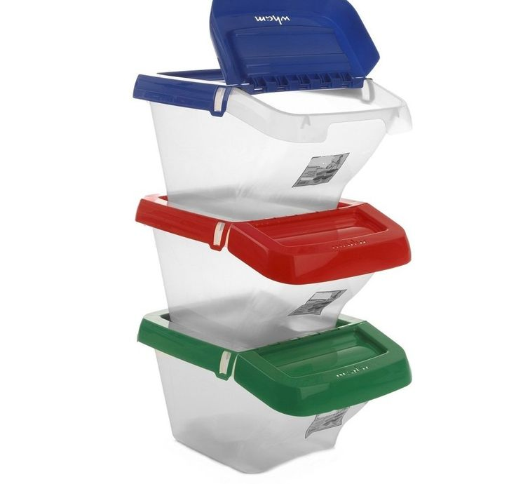 Furniture Unique 50lt Stackable Plastic Storage Bins Idea In Clear Color With Lids In Blue And Red And Green Colors of April 2017