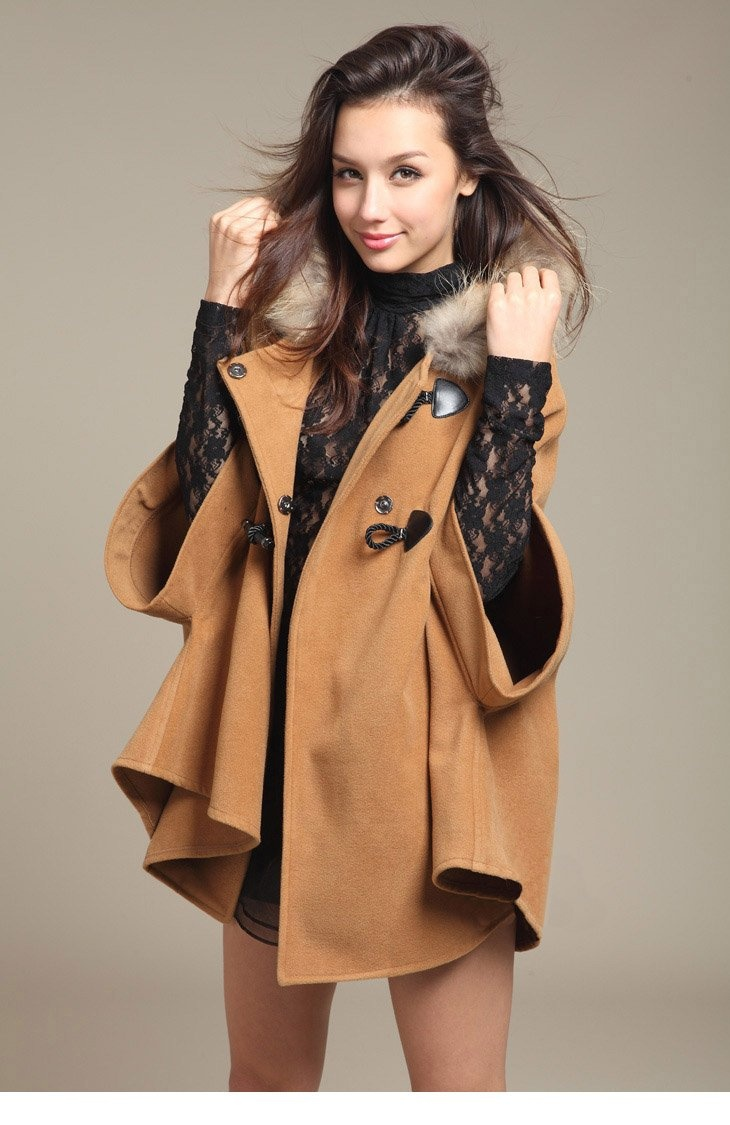 Women's Fur Collar Coat Bat Wing Sleeve the Cloak Cotton Brends Hooded Poncho Jackets Shawl
