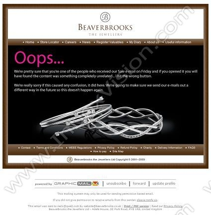 Company: Beaverbrooks The Jewellers Ltd   Subject: We're Sorry         INBOXVISION, a global email gallery/database of 1.5 million B2C and B2B promotional email/newsletter templates, provides email design ideas and email marketing intelligence. www.inboxvision.c... #EmailMarketing  #DigitalMarketing  #EmailDesign  #EmailTemplate  #InboxVision  #SocialMedia  #EmailNewsletters