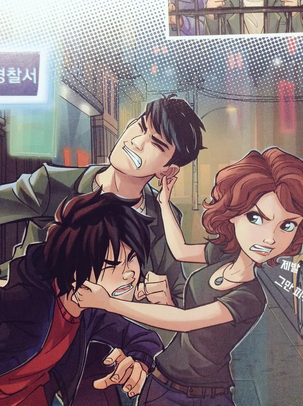 """Aunt Cass to Hiro Hamada and Tadashi as she angrily pulls them by the ears, """"Then what were you two knuckleheads thinking?!"""""""