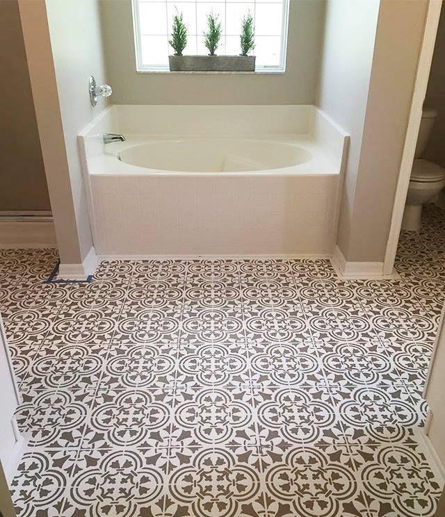 355 best stenciled painted bathrooms images on pinterest for Paint linoleum tile floor