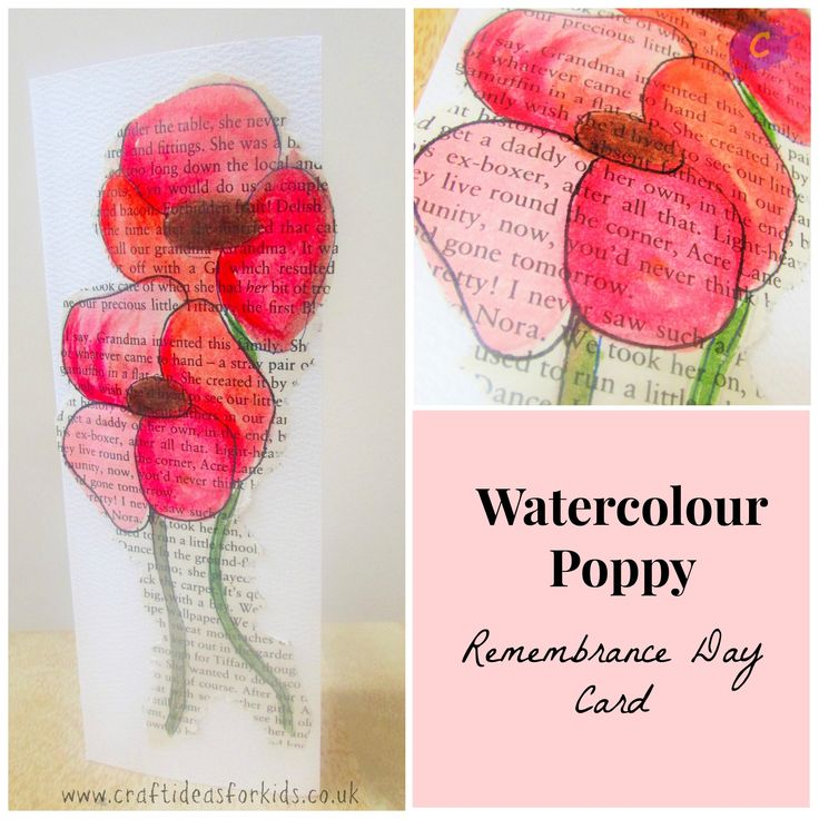 Watercolour Poppy Remembrance Day Card.  Should do this on a copy of In Flanders Field.