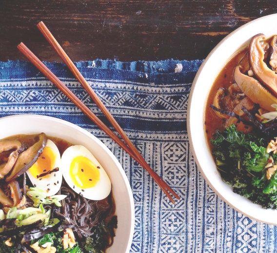 Recipe // Bone Broth + Miso Paste + Sesame Oil + Garlic Cloves + Mushrooms + Kale + Tamari + Rice Wine Vinegar + Black Bean Noodles