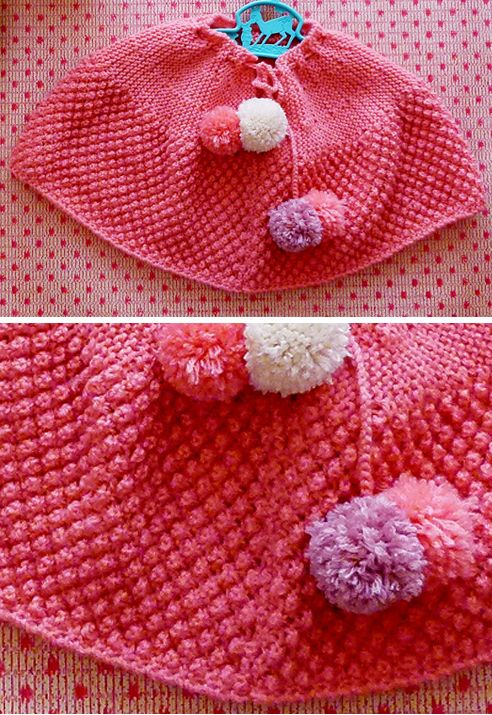 Free knitting pattern for Bramble Stitch Baby Poncho - Pullover baby ...