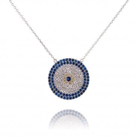 Stříbrný náhrdelník s kruhovým přívěsem plným modrých a čirých zirkonů