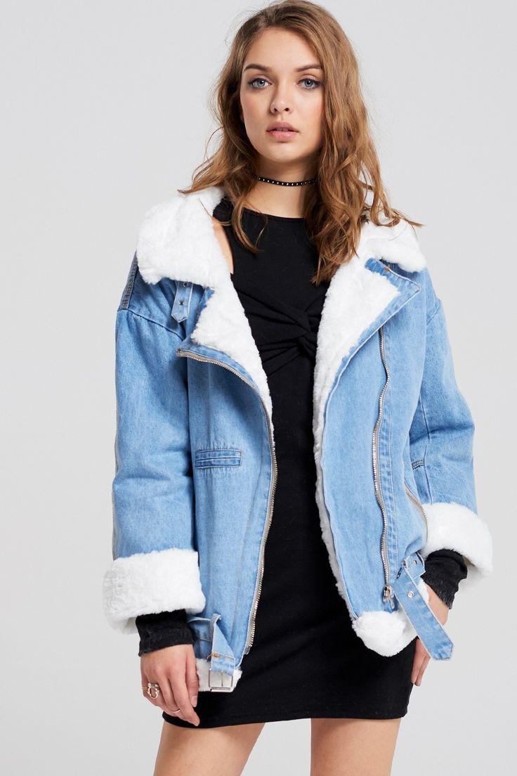 Clara Faux Fur Denim Jacket Discover the latest fashion trends online at storets.com #fashion #fauxfur #denim #denimjacket #jackets #storetsonme
