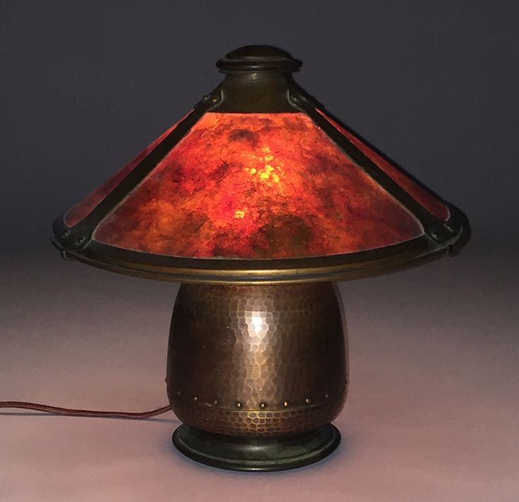 Old Mission Kopper Kraft hammered copper & mica lamp |  Signed |  Excellent original patina and original mica | 12″h x 12″d | Arts and Crafts Movement | Craftsman Style
