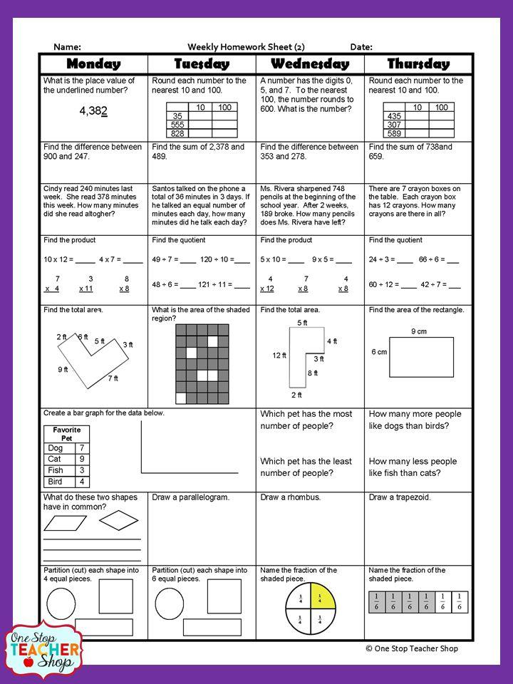 third grade daily math review worksheets