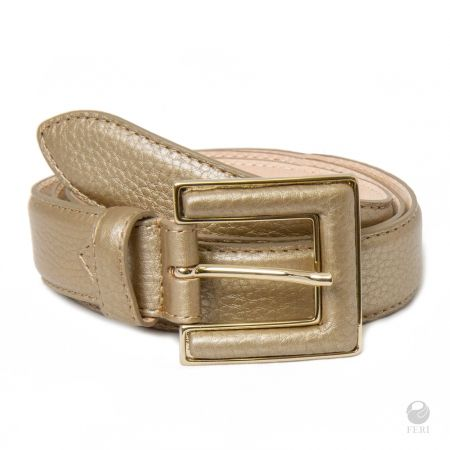 FERI Metallico Collection - Ora Belt - Metallic Gold - Ladys hip belt - Made from genuine cow leather - Hand made and hand dyed - Smooth metallic Gold look - Buckle is lined with matching leather   Please refer to size chart to determine your size. www.gwtcorp.com/ghem or email fashionforghem.com for big discount