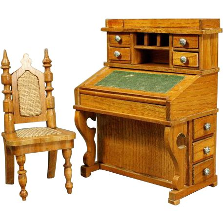 Antique German dollhouse Schneegas Davenport style desk with its Chair from belle-epoque-dolls on Ruby Lane