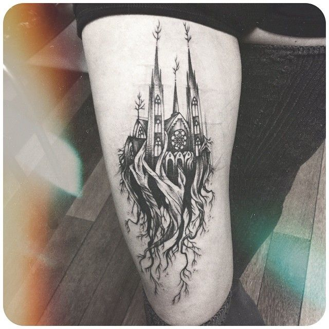 surreal cathedral tattoo by dwam tattoos black gray pinterest tattoo body art and. Black Bedroom Furniture Sets. Home Design Ideas