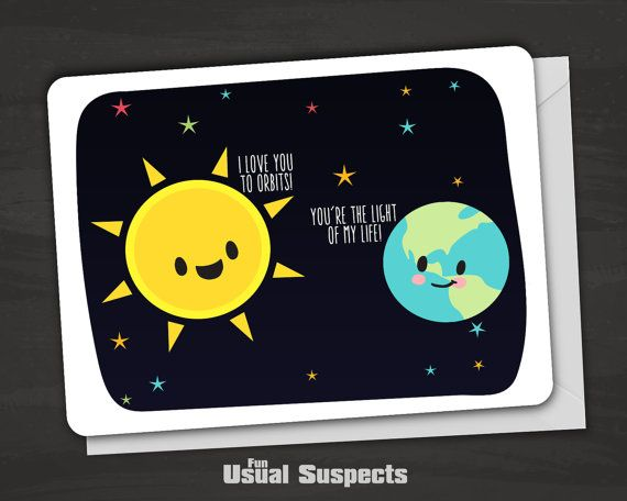 I Love You To Orbits, Planet Love, Cute Earth and Sun Card, Space Anniversary Card, Kawaii Greeting Card, Cards with Puns, Clever Earth Card