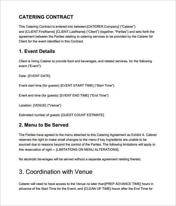 Catering Contract Templates Word Excel Fomats Contract
