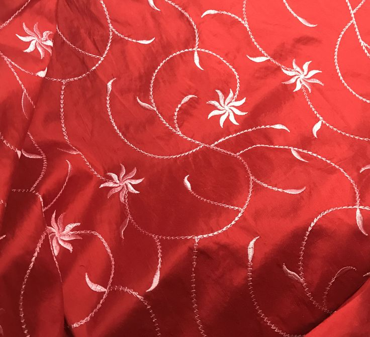 """Fiery Red Floral - Embroidered Silk Dupioni (18""""x27"""")"""