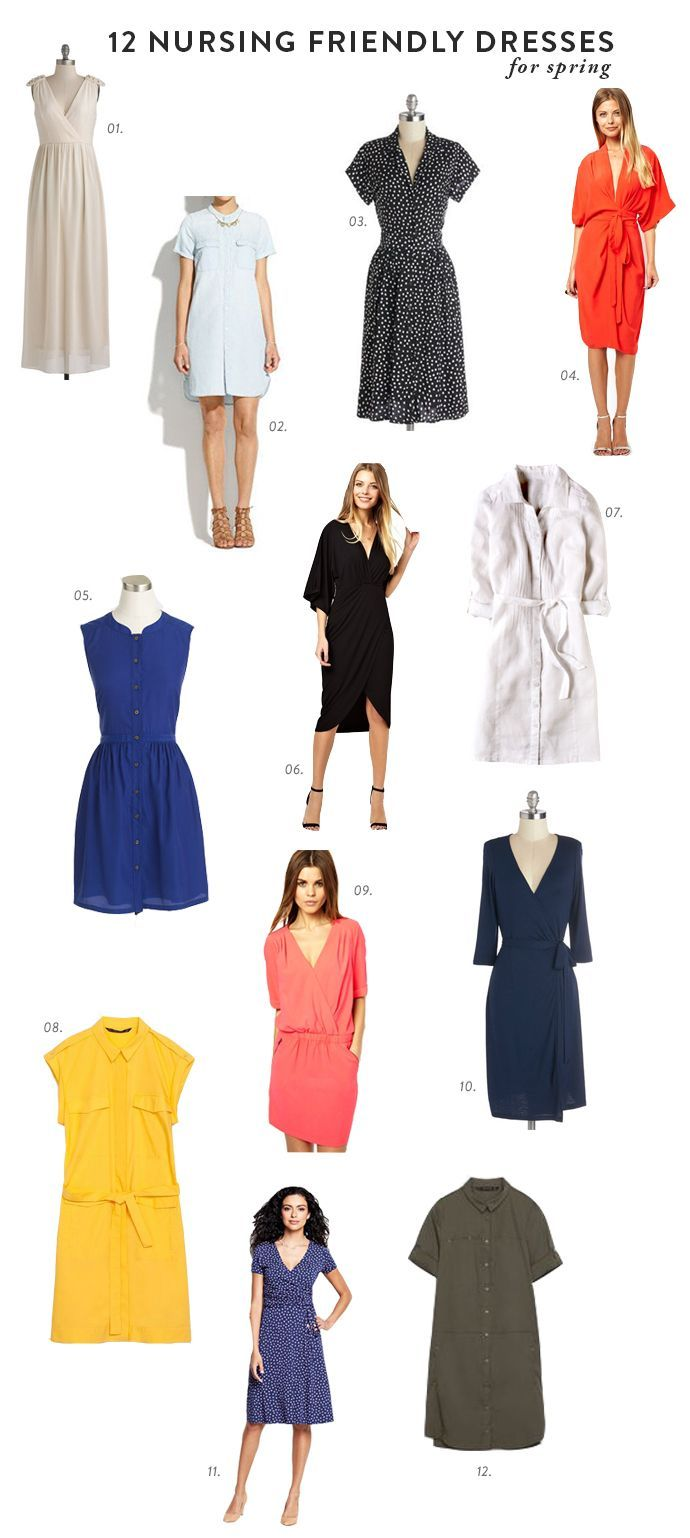 12 #nursing friendly #dress styles. If you don't have a dress specifically designed for #breastfeeding, check out these styles. For nursing-specific styles check out: www.mothers.boutique.com