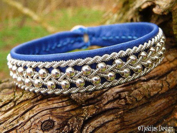 ROSKVA Sami Bracelet Swedish Blue Leather Viking Silver Cuff Authentic Nordic Handcrafted Spirit from Tjekijas Design.
