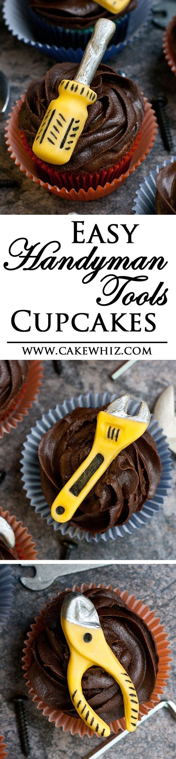 Use this step by step tutorial to make Father's day HANDYMAN TOOLS CUPCAKES. Fun and easy edible craft that kids can help make too! From cakewhiz.com
