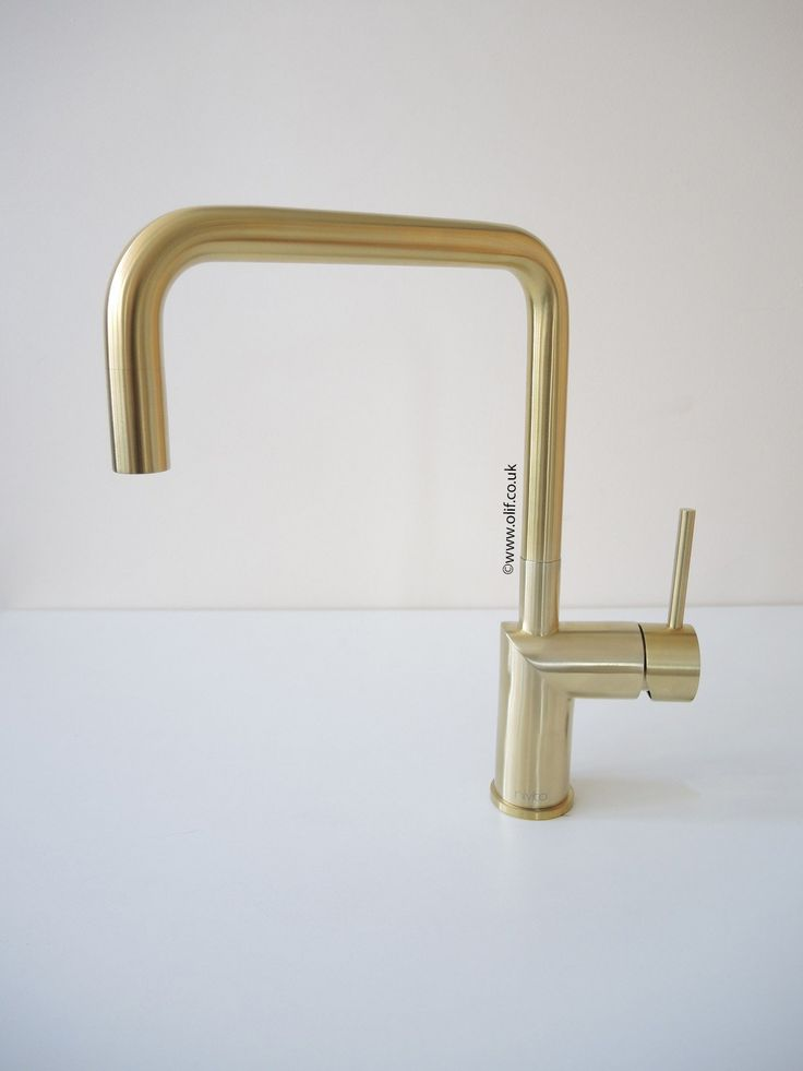 Fabulous contemporary mixer tap in brushed brass finish, made in Sweden. Non-fading. Good match with Alveus Monarch Gold sinks. Single lever. For sale in UK.