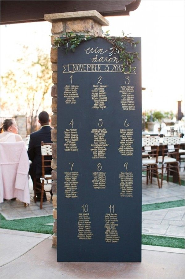 easy-to-read chalkboard seating chart with handwritten names