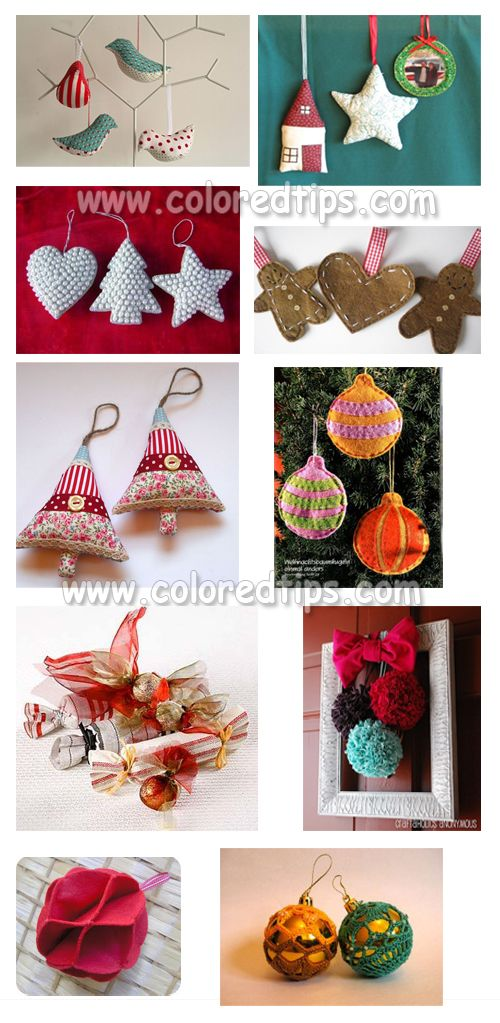 christmas homemade decorations - sewn and knitted decorations