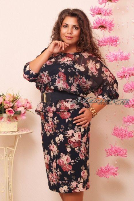 """Платье """"Баско роза шифон""""-тем.синий+розовый - Платья-Батал - Minova интернет-магазин"""
