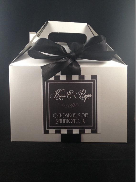 Wedding Welcome Gable Box, Label & Ribbon    {OVERVIEW}  This listing is for a large gable box and corresponding welcome sticker and pre-cut ribbon!