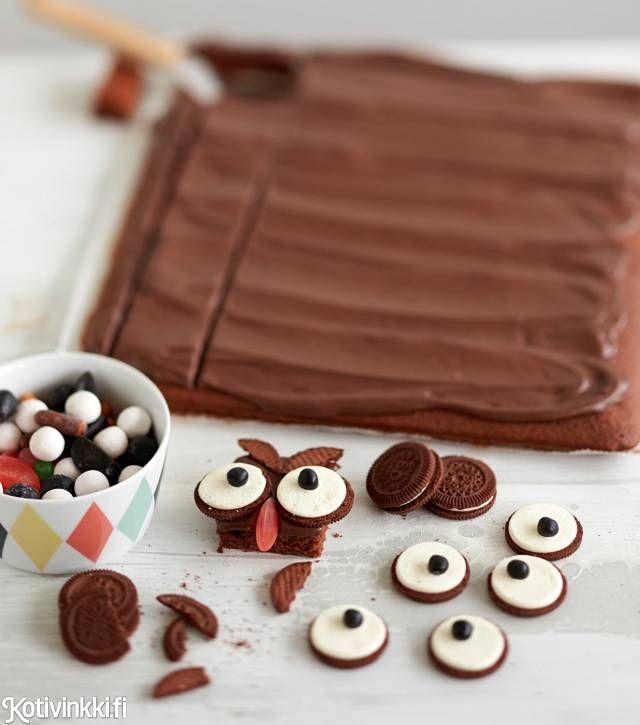Pöllömokkapalat lastenjuhliin. / Owl brownies #synttärit #lastenjuhlat #kidsparty #birthday #childrensparty #brownies