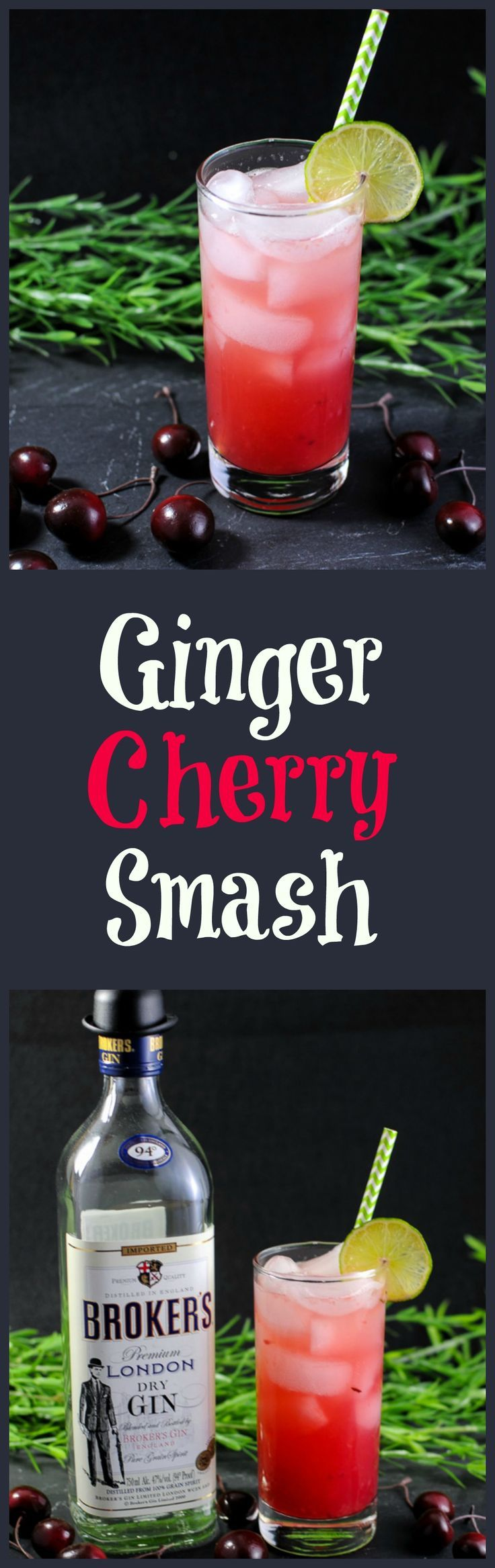 Ginger Cherry Smash Cocktail - gin, cherries, lime juice, club soda, ginger liqueur