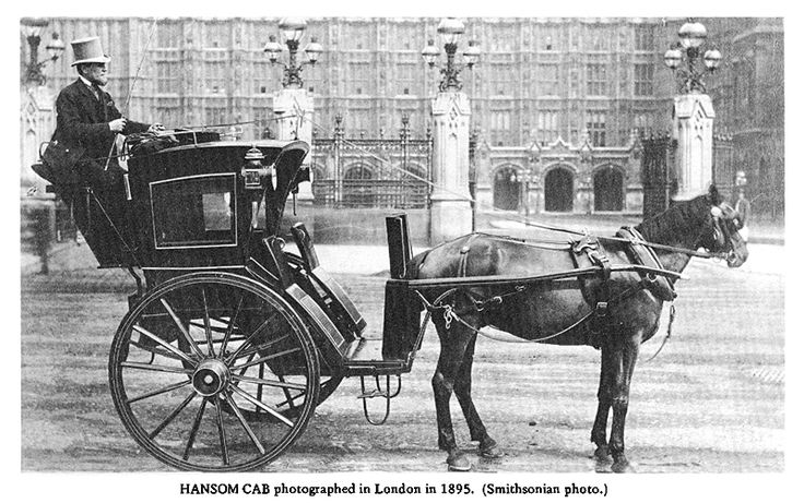 Hansom Cab pictures.  An article here about transport and carriages in the Victorian era on a larger site about Horses and History through the ages.