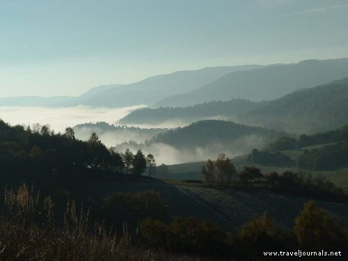 Peacefully resting early morning country covered by clouds., Slovenské Rudohorie, Slovakia