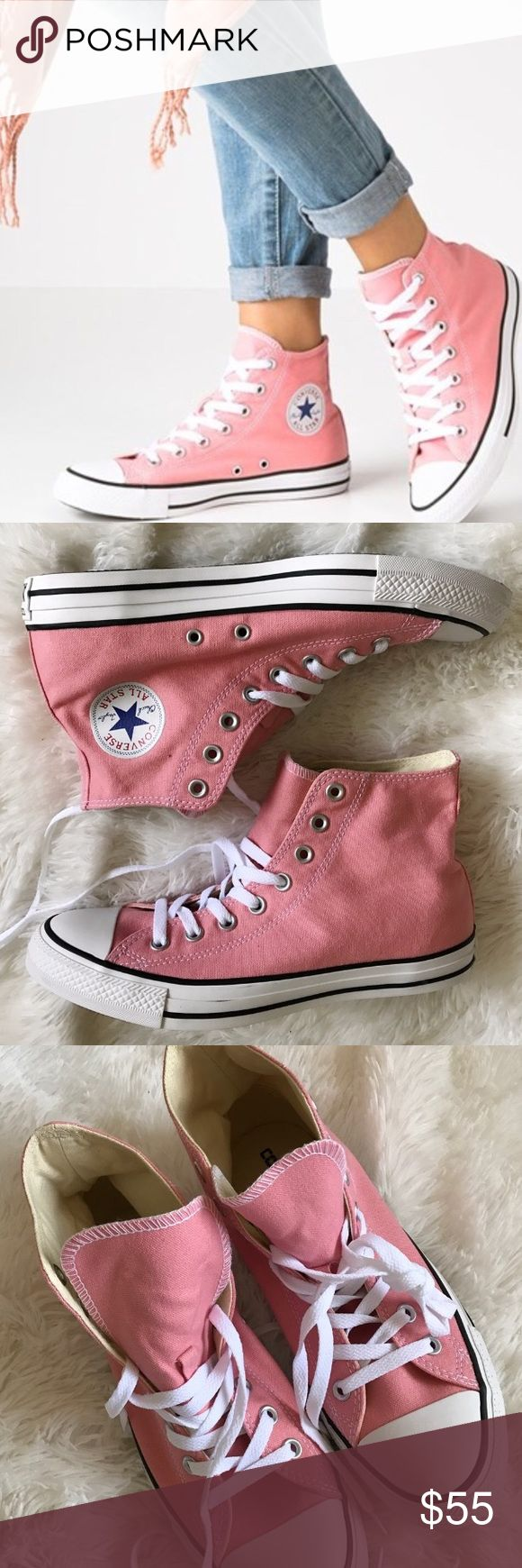 Converse womens Chuck Taylor hi top classics pink Brand new without box. 100% authentic.  Ships same day or very next.  Price is firm.  No trades.  Bundle and only pay shipping once.  If you have any questions before ordering please feel free to leave me a comment and I will get back to you ASAP.  Use the filter option to see what else I have available in your size.  Converse Shoes Sneakers