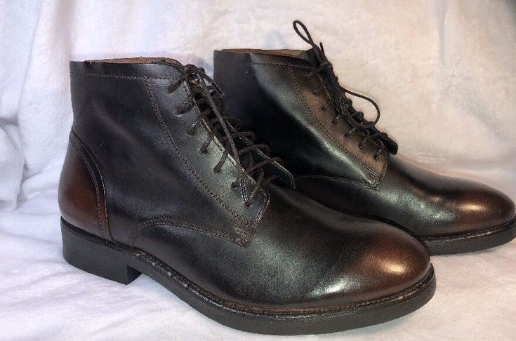 Aldo Mens Leather Ankle Boots Lace Up Two Tone Black Brown Size 10.5 New  | eBay