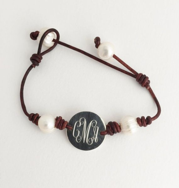 Looking for the perfect gift? This #personalized Leather and Pearl #Bracelet is one of our TOP sellers! $36  Freshwater PearlBracelet with Monogram Any girl will love our on trend #monogram pearl and leather bracelet. The leather and pearls compliment each other perfectly. Fresh... #preppy #bracelet #bridesmaid #charm #jewerly #valentine #wedding