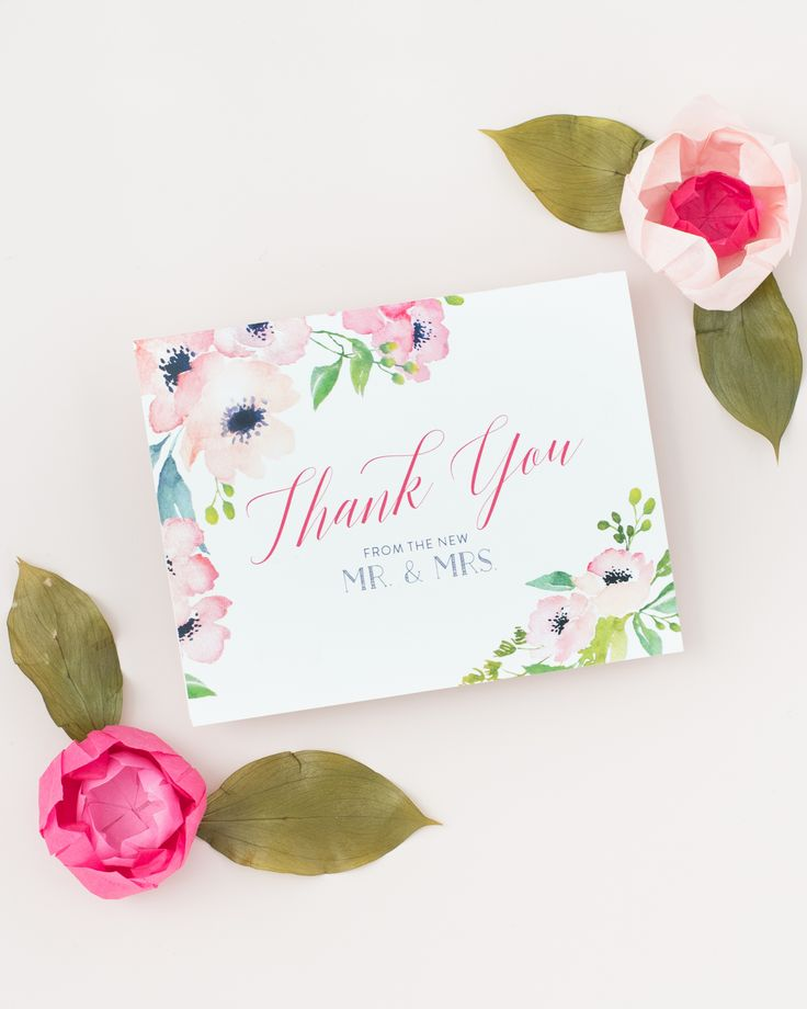 Floral Wedding Thank You Card in pink