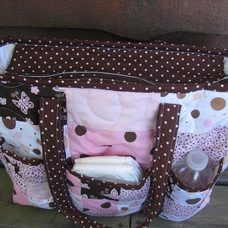 CUSTOM diaper bag, Personalized tote, Patchwork quilted diaper bag,  pink and brown polka dots, Handmade certified. $95.00, via Etsy.