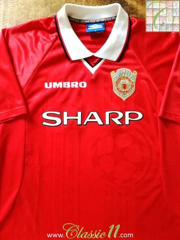 fcf631a0f1f Official Umbro Manchester United home European football shirt from the 1998  1999 season.