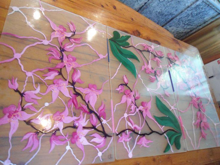 """Витражный потолок """"Орхидеи"""""""
