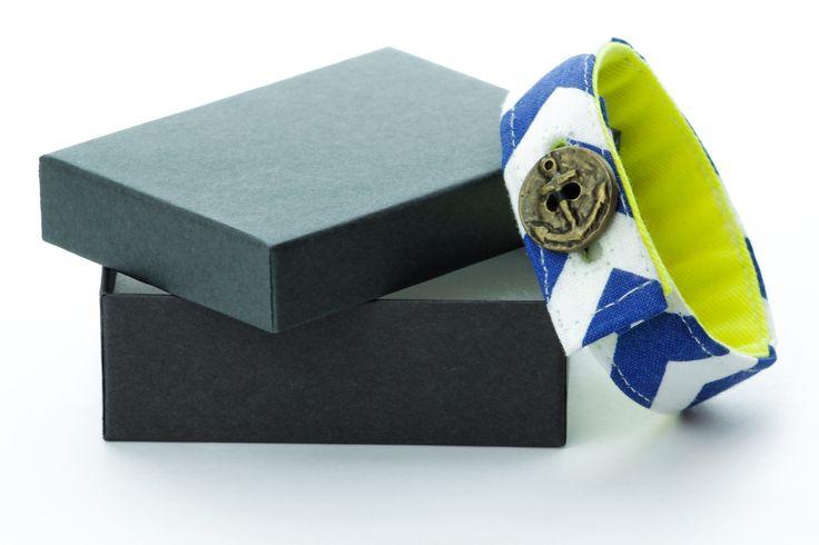 Material Anchor Bracelet -  Chevron Blue & Green