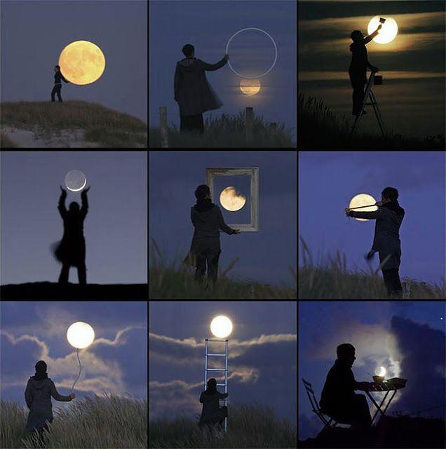 地球で遊ぶ。月を使ったトリックアートが美しい。7枚【Art】