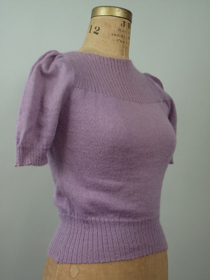 1940s Sweater / 40s Knit Sweater Puff Sleeves Lavender - LOVE!!!! neck, waist, cuffs, color.. Rose.