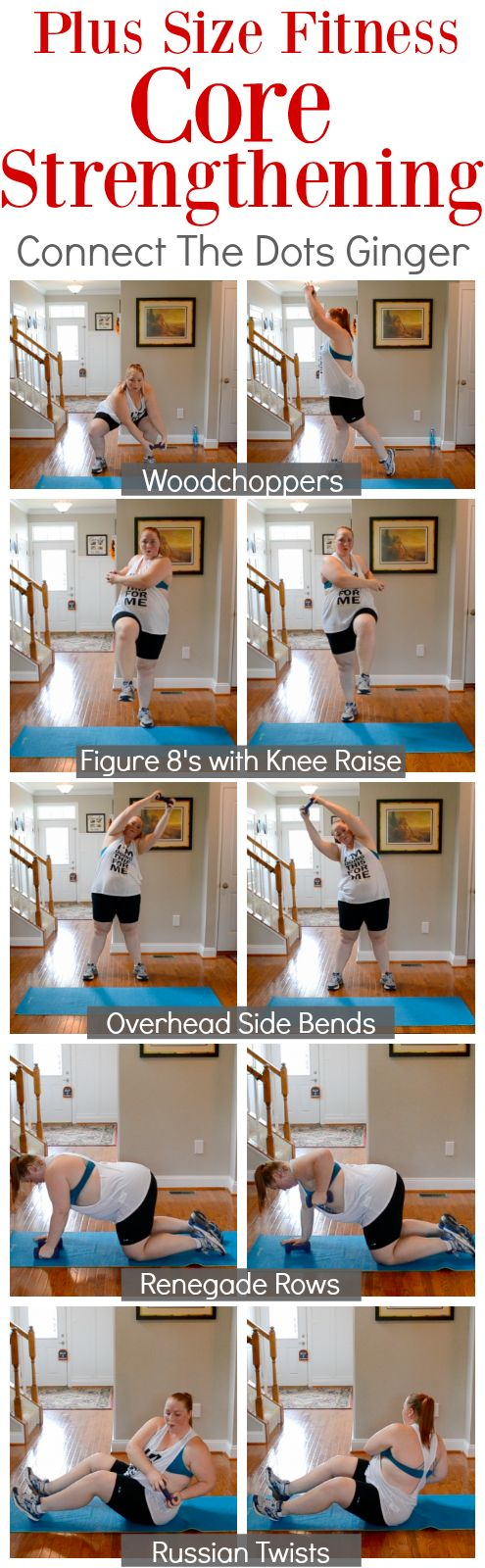 Plus size fitness core strengthening exercises! NO CRUNCHES NEEDED to rock this at home workout. workout video included