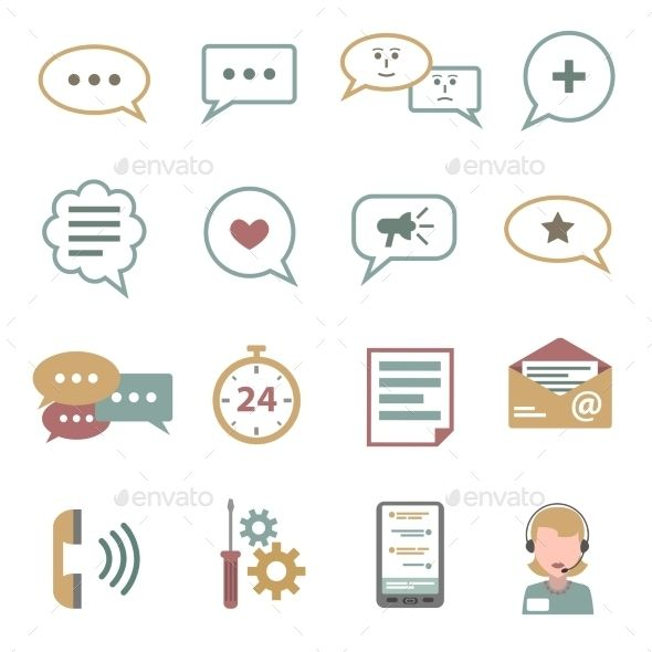 Chat Icons Flat Set — Vector EPS #subscription #tech • Available here → https://graphicriver.net/item/chat-icons-flat-set/11515757?ref=pxcr