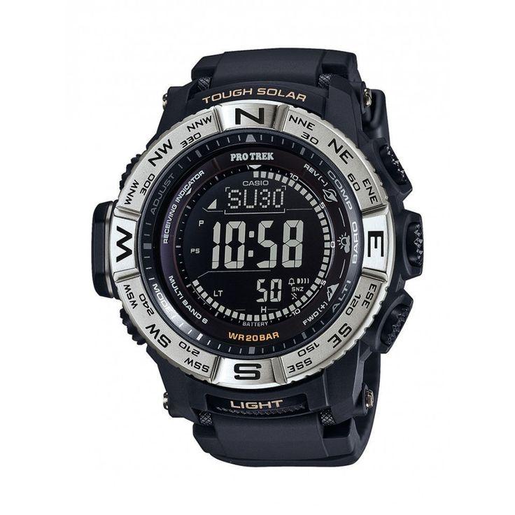 Zegarek Męski Casio PRW-3510 -1ER pochodzi z wyjątkowej kolekcji Pro Trek, która jest przeznaczona dla aktywnych ludzi. Ten model jest wspomagany przez autorskie rozwiązania Casio - Tough Solar (zasilanie energią słoneczną wraz ze wskaźnikiem naładowania baterii) oraz WaveCeptor (automatyczna synchronizacja z zegarem atomowym)  #casio #protrek #timetrend #zegarek #zegarki