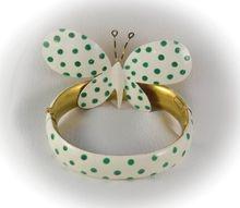 Super SANDOR green and white polka dot Bracelet and Pin Found on Ruby Lane @Ruby Lane Vintage