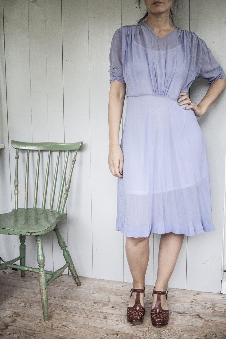 Vintage klänning ljus lila/blå på Tradera.com - Klänningar storlek 34/36
